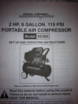 Manual cover for 95386 Central Pneumatic air compressor - https://www.about-air-compressors.com