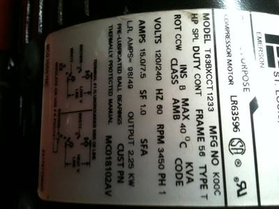 Emerson electric motor label