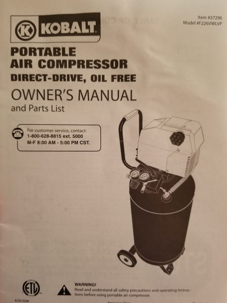 Cover of Kobalt compressor owner's manual
